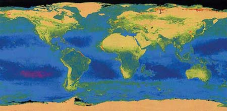 Chlorophyll in the oceans and vegetation on land world map 2003 NASA-Goddard.jpg