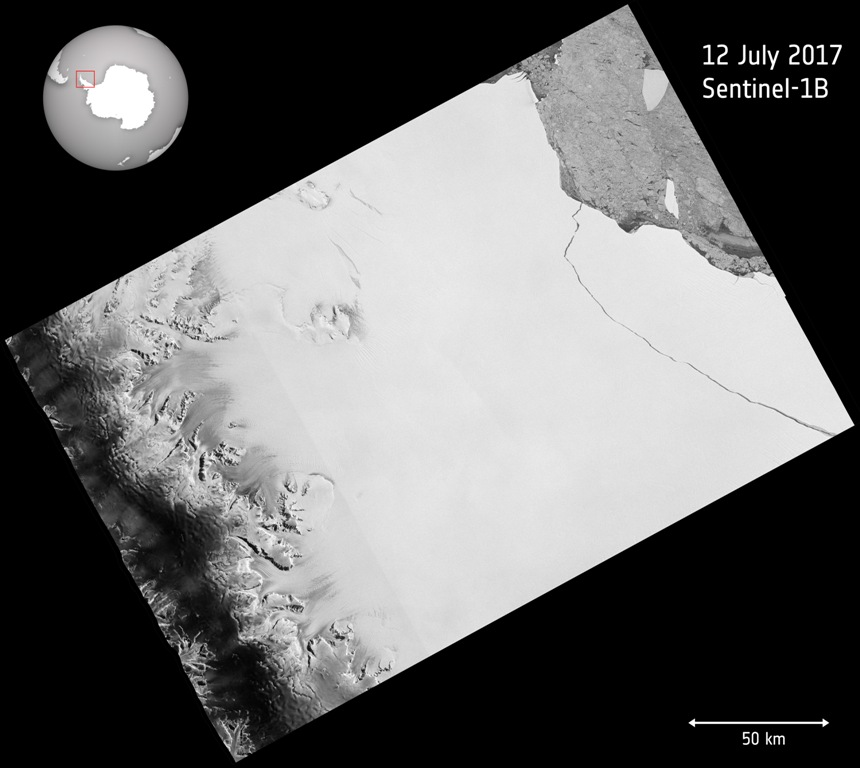 Iceberg breaks off from Antarctica photo from ESA July 12, 2017.jpg