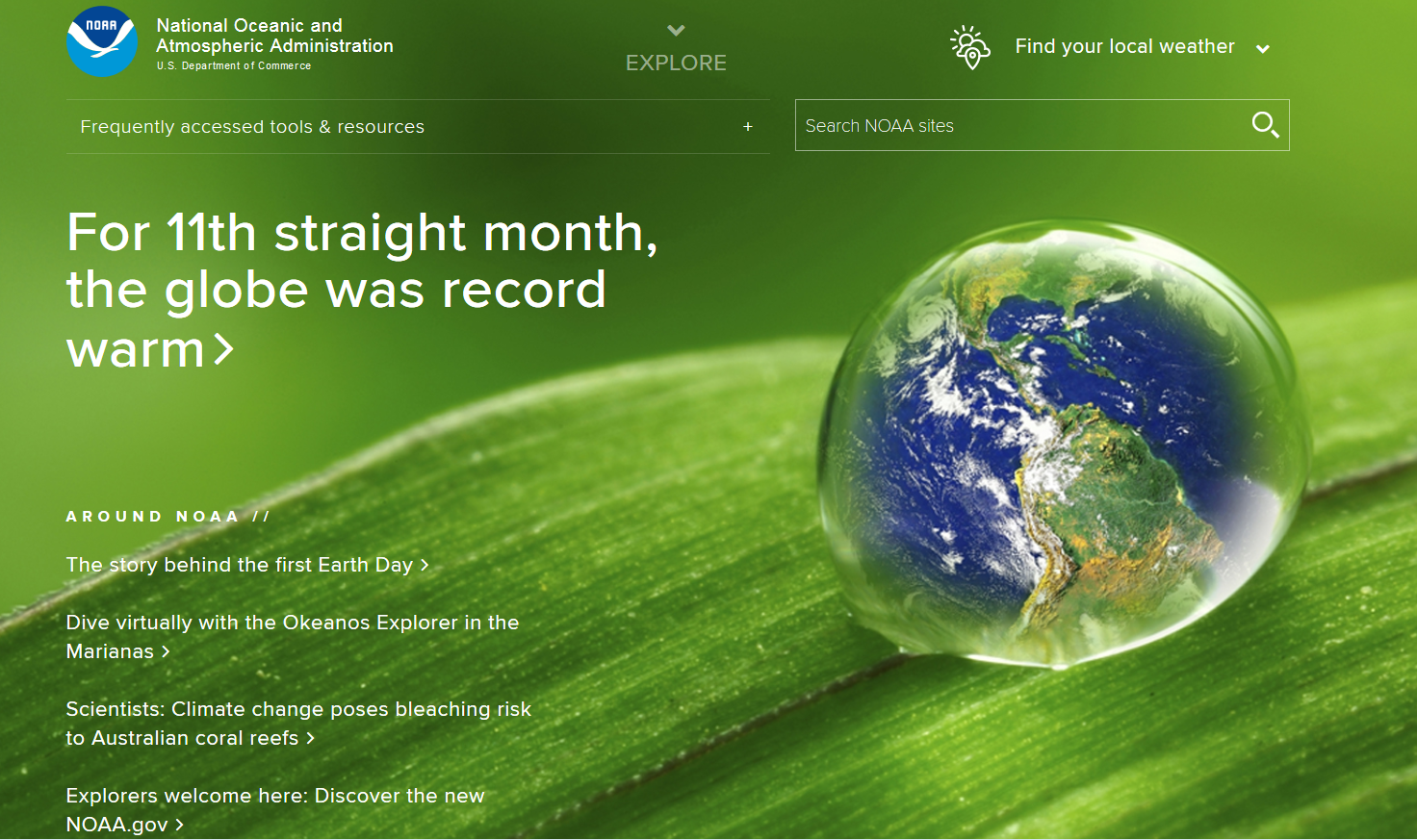 NOAA Home Page April 22, Earth Day, 2016.png