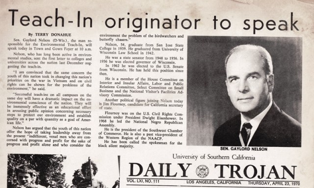 USC Daily Trojan Sen Nelson speech day after first Earth Day .jpg